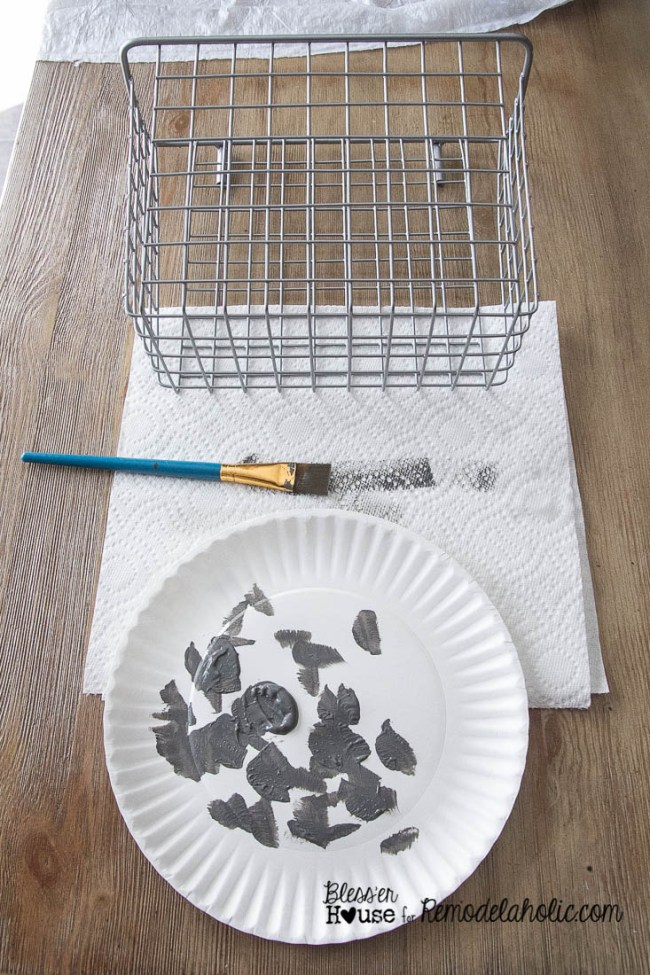 DIY Locker Basket Mail Organizer - use paint to age and patina new wire baskets for a rustic industrial style