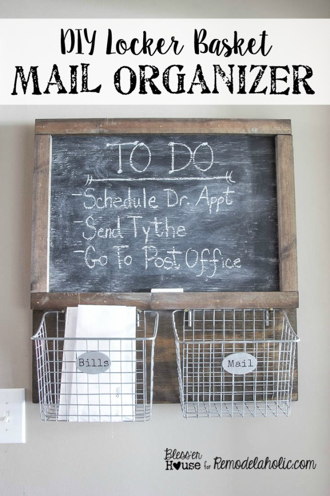 Cut the countertop paper clutter with this easy and inexpensive DIY locker basket mail organizer with a chalkboard. Use a simple tea, vinegar, and steel wool stain for a rustic industrial look.