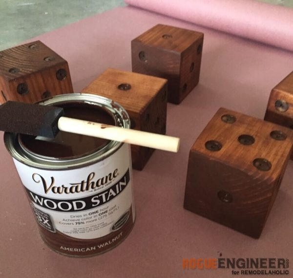 DIY Yard Dice - Staining