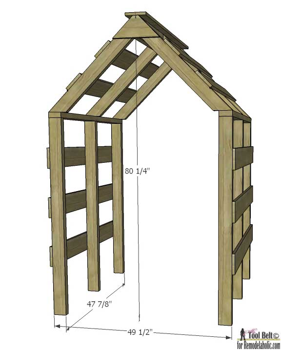 This house shaped garden arbor is so cute, perfect for my yard. Free DIY plans on @remodelaholic