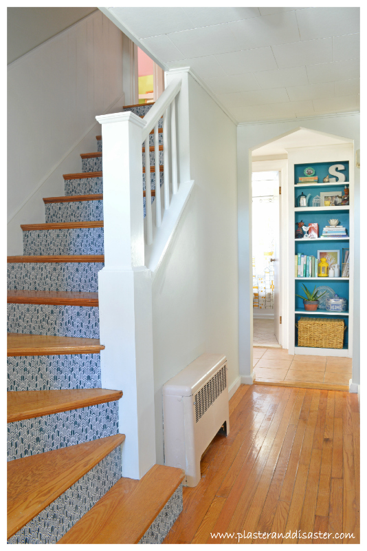 Add Some Pop With This Tutorial For Using Fabric On The Stair Risers: