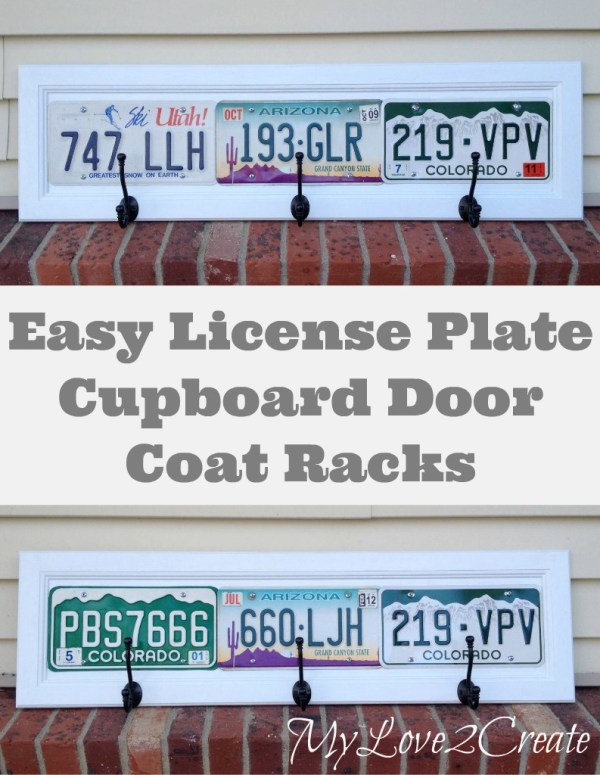 coat rack made from cupboard door and license plates - My Love 2 Create