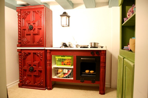 kids cottage play kitchen built from reclaimed and salvaged pieces @Remodelaholic
