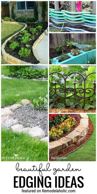 Add A Unique Touch To Your Landscaping With A Beautiful DIY Garden Edge. We Are Sharing 25+ Beautiful Garden Edging Ideas Featured On Remodelaholic.com