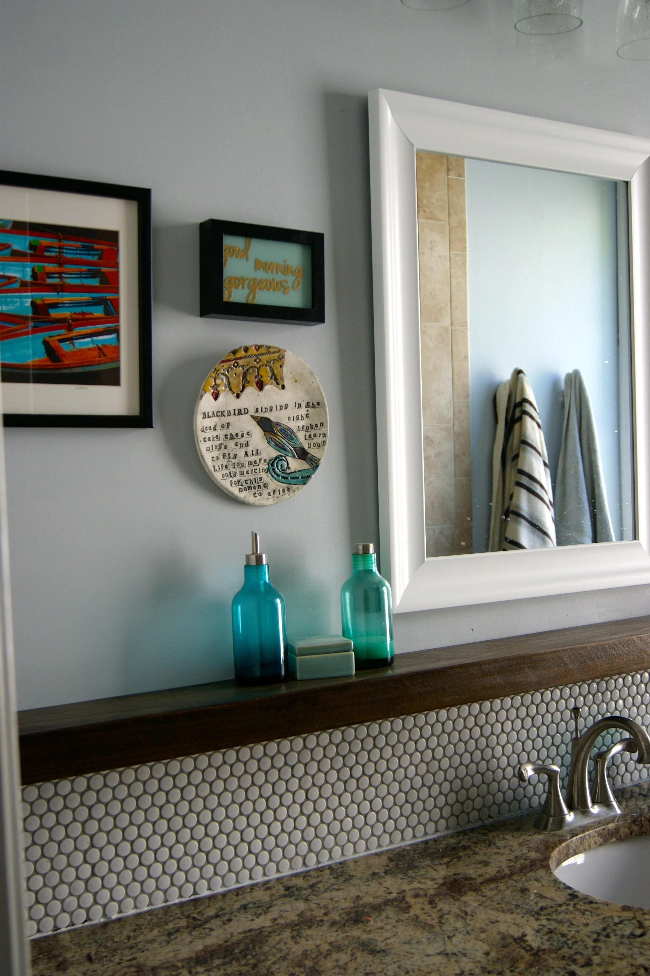 Penny Tile Bathroom Backsplash With Floating Wood Shelf