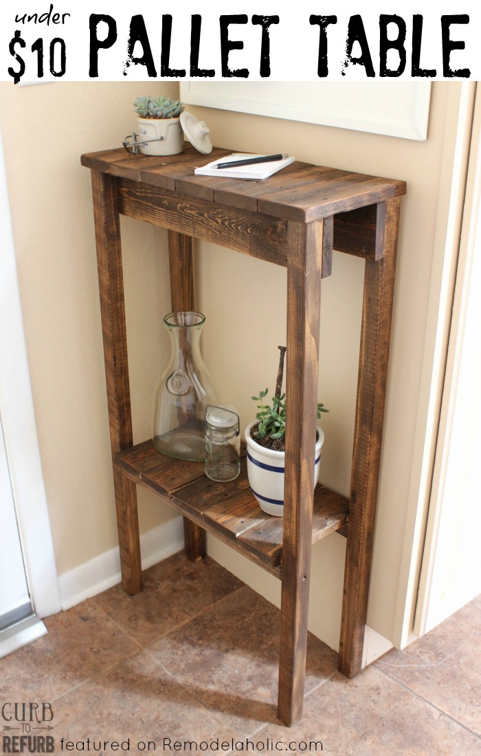 Remodelaholic Build A Pallet Table For Under - How to build an end table