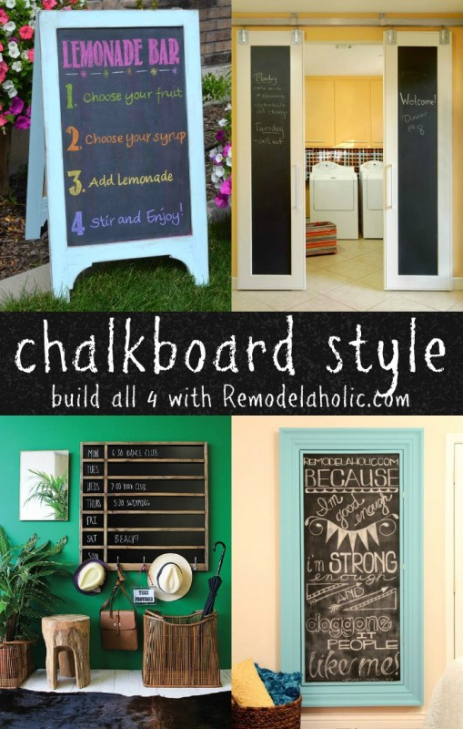DIY Chalkboard Style -- Make your own chalkboard in so many different styles. Free building plans and tutorials for a chalkboard easel, chalkboard sliding doors, divided chalkboard calendar, and an extra large framed chalkboard.