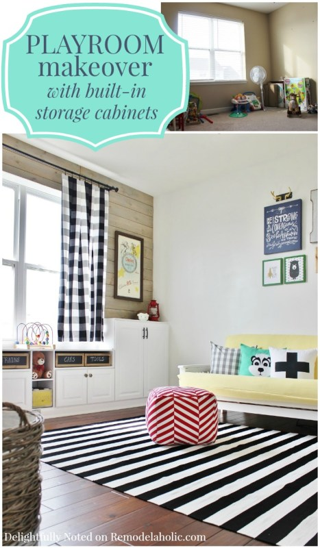 DIY playroom makeover with built-in storage cabinets and a plank wall via @Remodelaholic