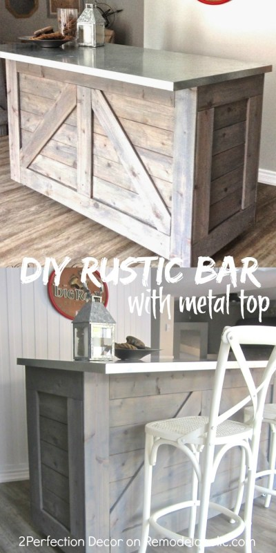DIY rustic bar, hacked from an existing cabinet, topped with metal