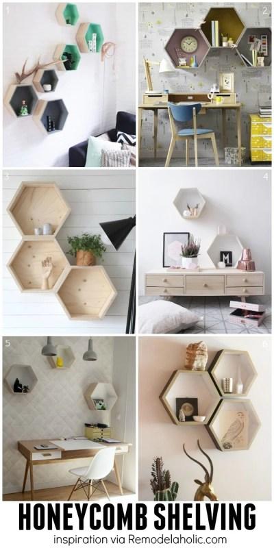 Hexagon/Honeycomb Geometric Shelving Ideas - plus a building plan for the easy geometric shelves!