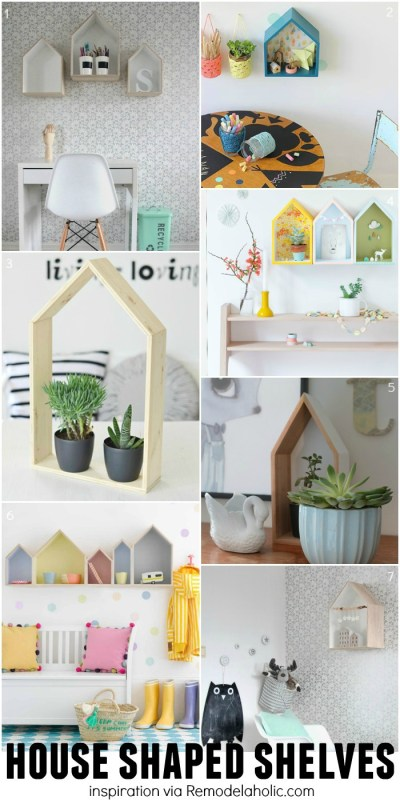 House Shaped Shelves for Inspiration - plus a building plan for the easy geometric shelves!