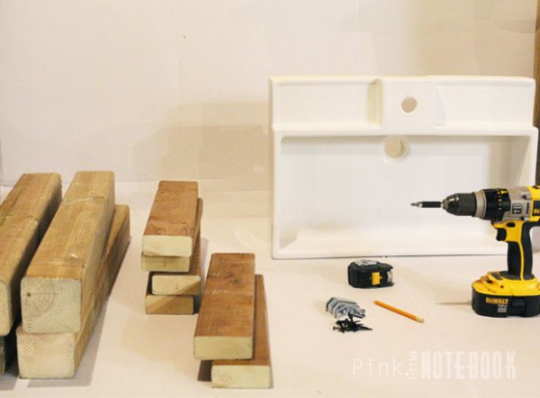 How to Build an Open Vanity for an IKEA Sink by Pink Little Notebook featured on Remodelaholic