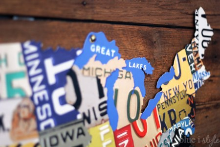 How to Create License Plate Map Wall Art by Blue i Style featured on Remodelaholic