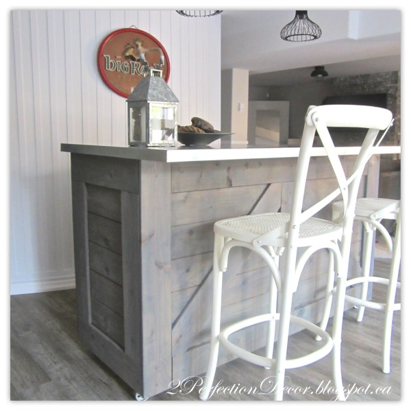 How to turn an old cabinet into a rustic wooden bar by 2Perfection Decor Blog featured on Remodelaholic