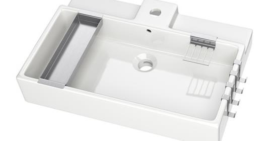 IKEA Sink for an Open Vanity by Pink Little Notebook featured on Remodelaholic