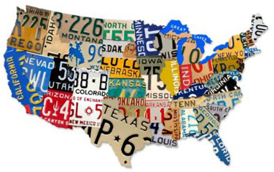 License Plate Map for DIY Wall Art by by Blue i Style featured on Remodelaholic