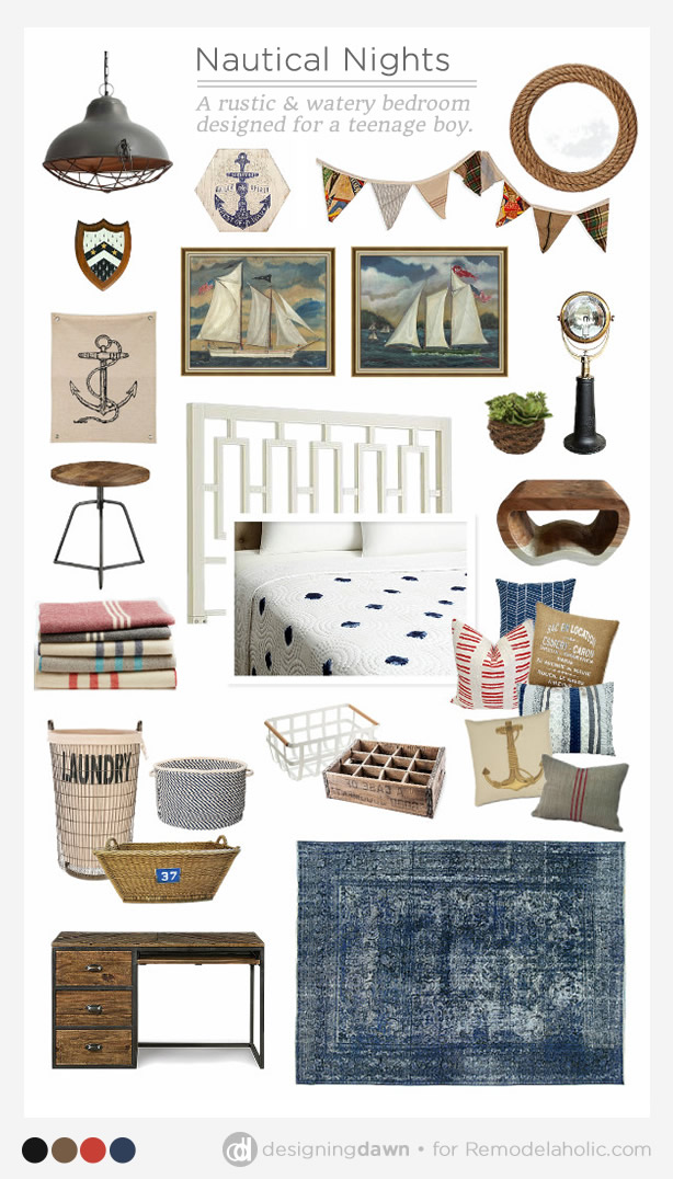 Design a rustic and nautical teen boy room with a few easy tips and a couple smart decor choices (sources for these in the post!)