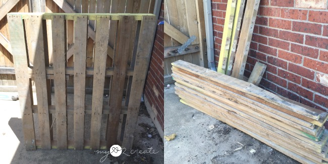 Pallet cut up to be used for table top