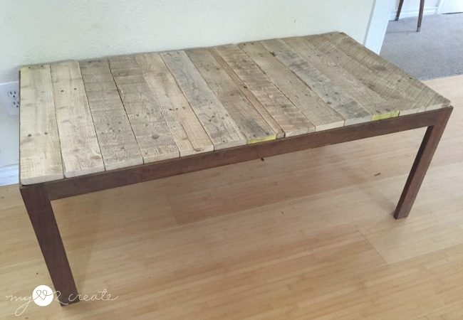 Pallet wood cut and put on table top to replace glass