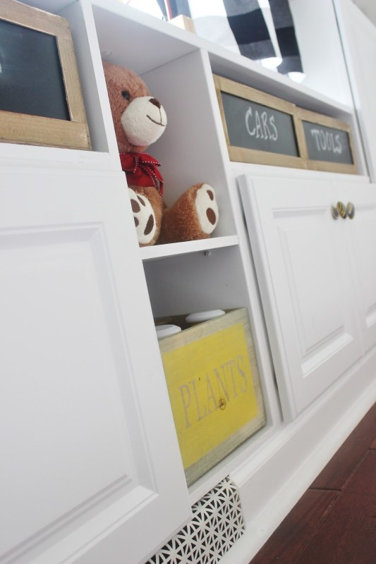 Remodeled Playroom with Built-In Storage Cabinets by Delightfully Noted featured on Remodelaholic