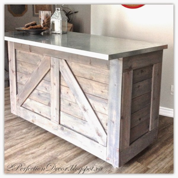DIY Rustic Bar from an IKEA Cabinet - love the metal countertop!