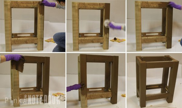 Staining an Open Vanity for an IKEA Sink by Pink Little Notebook featured on Remodelaholic