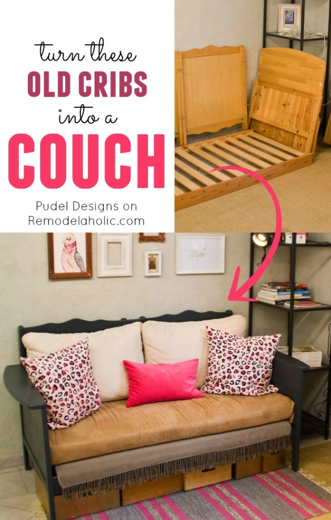 Repurpose A Old Cribs Into Nice Loveseat Style Couch Or Sofa
