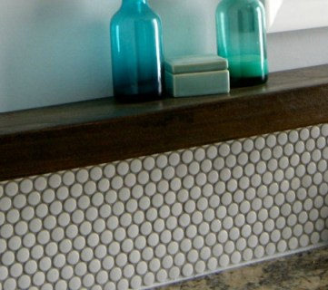Tips for Installing a Penny Tile Backsplash + Floating Shelf