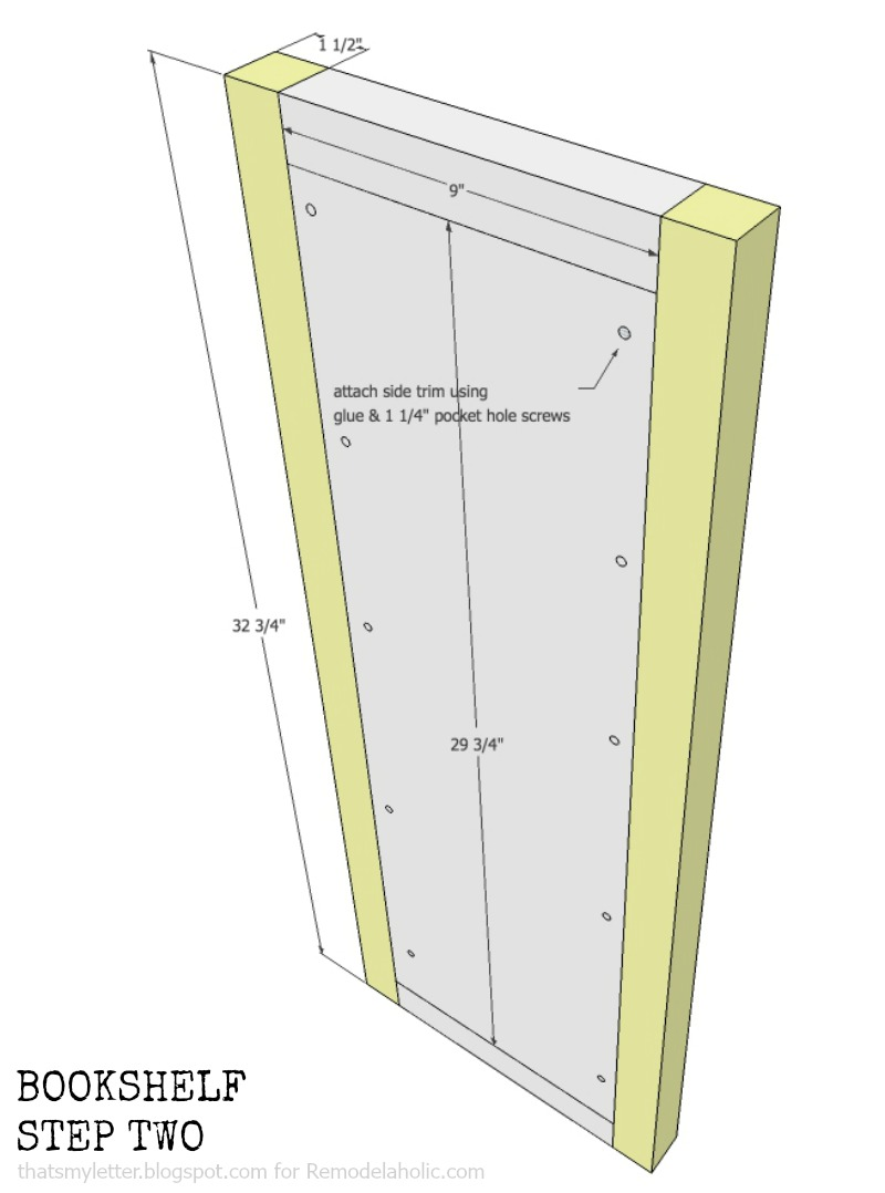 how to build a bookshelf with adjustable shelves, step two
