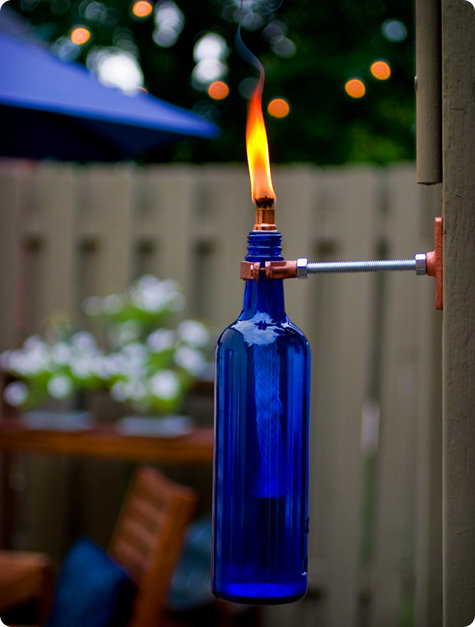 diy recycled wine bottle torch Remodelaholic