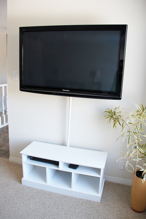 hide television wires with shower rod cover (Fresh Crush)