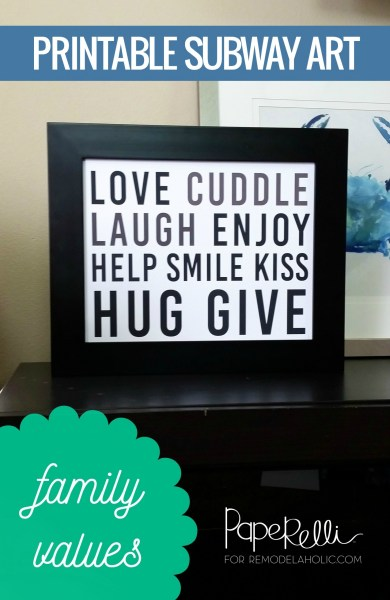 Printable Subway Art Family Rules Love Poster In Black And White #remodelaholic