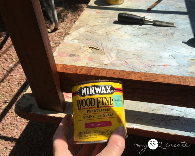 staining shelf support boards to match coffee table base