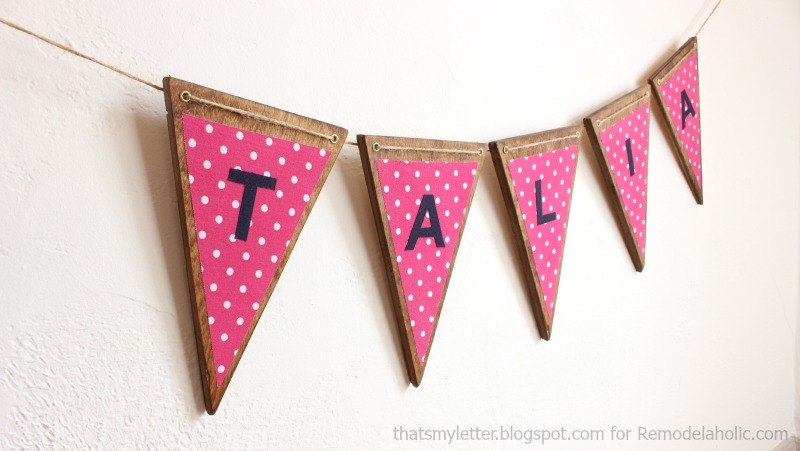 Remodelaholic   DIY Wood Bunting with Fabric Letters