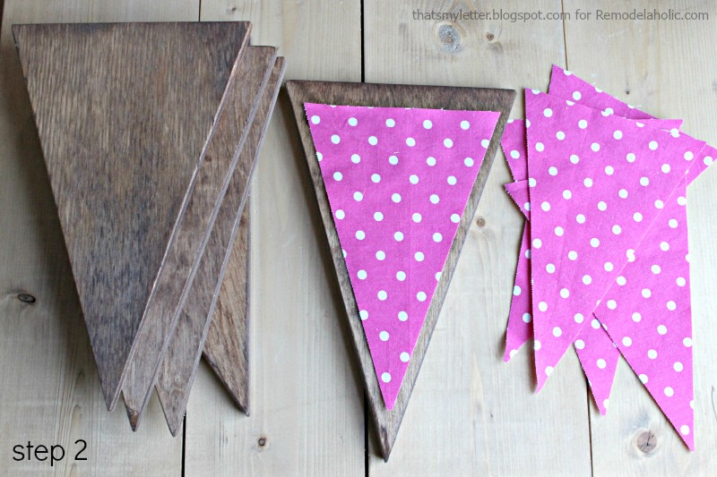 Remodelaholic | DIY Wood Bunting with Fabric Letters