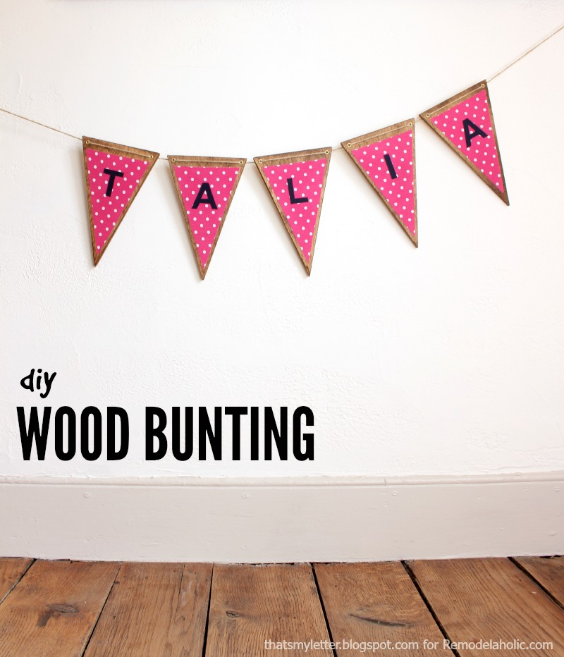 Use up fabric and wood scraps to make this cute wood bunting, perfect for a party or a child's room