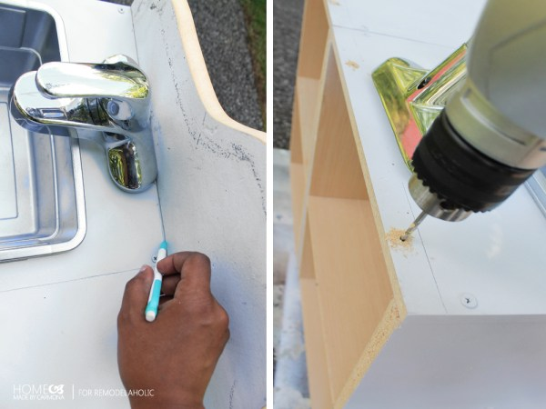 Installing a backsplash on a cheap and easy play kitchen
