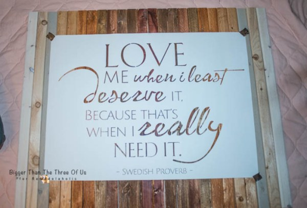 DIY Ombre Stained Wood Art with Love Quote by Bigger Than The Three Of Us for Remodelaholic