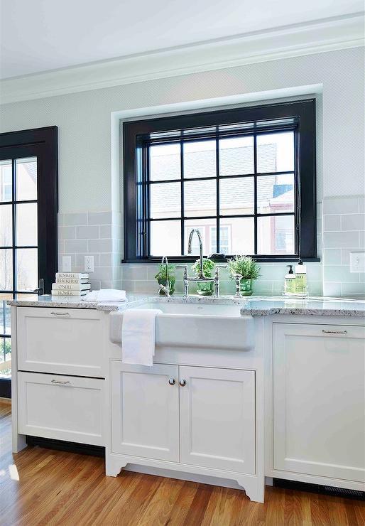 Farrow & Ball Offblack window frame and mullions, with BM white dove cabinets (Martha OHara via DecorPad)