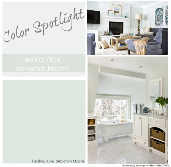 Healing Aloe from Benjamin Moore. A very light gray green blue transitional color. Color Spotlight on Remodelaholic