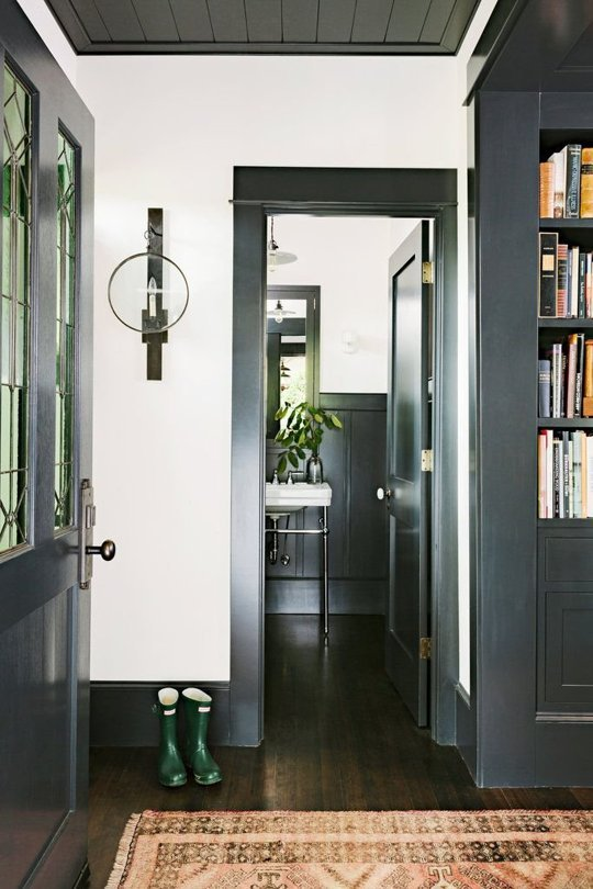 Remodelaholic decorating with black 13 ways to use dark colors in black baseboard and door trim via apartment therapy planetlyrics Image collections