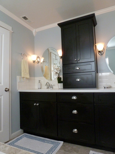 black painted bathroom vanity