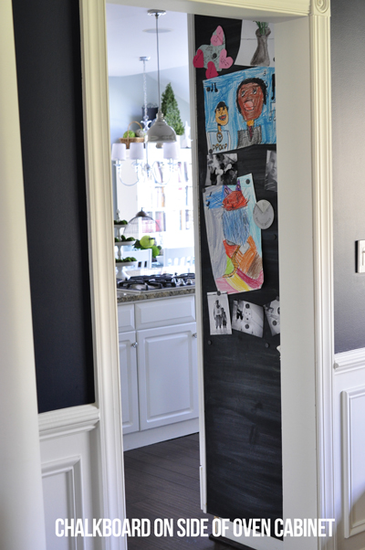 DIY magnetic chalkboard in the kitchen