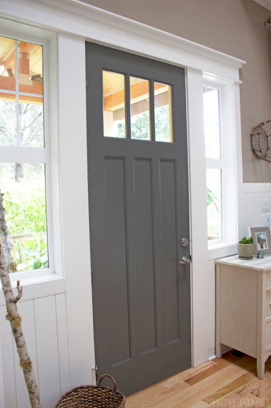 dark gray painted front door, BM Kendall Charcoal (The Inspired Room)