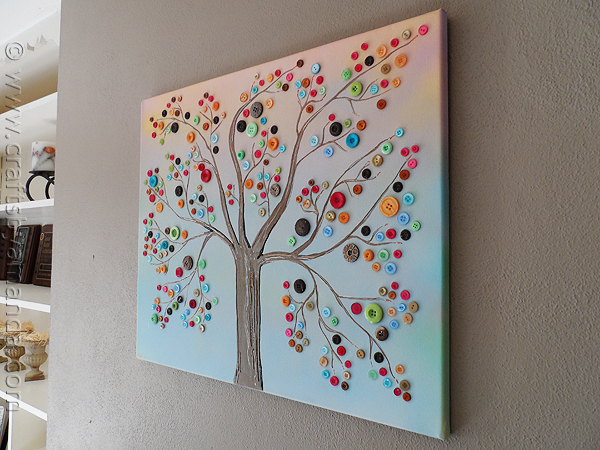 diy button tree wall art (Crafts By Amanda)