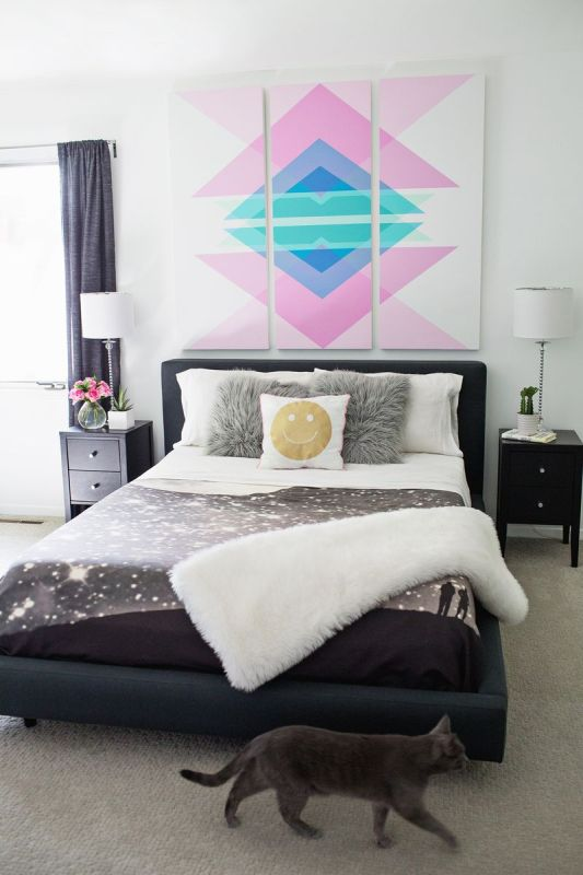Large DIY Wall Decor: diy geometry triptych art (A Beautiful Mess)