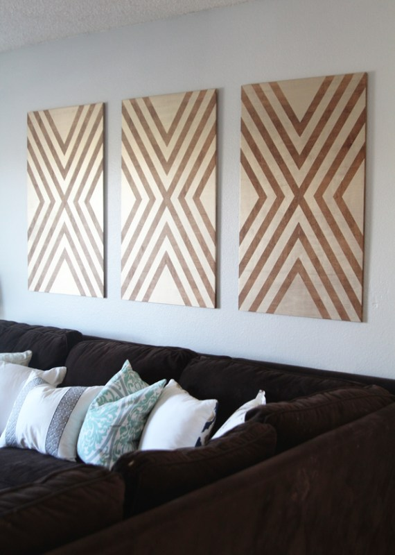 diy large art from plywood, tape, and paint (via Home Depot)