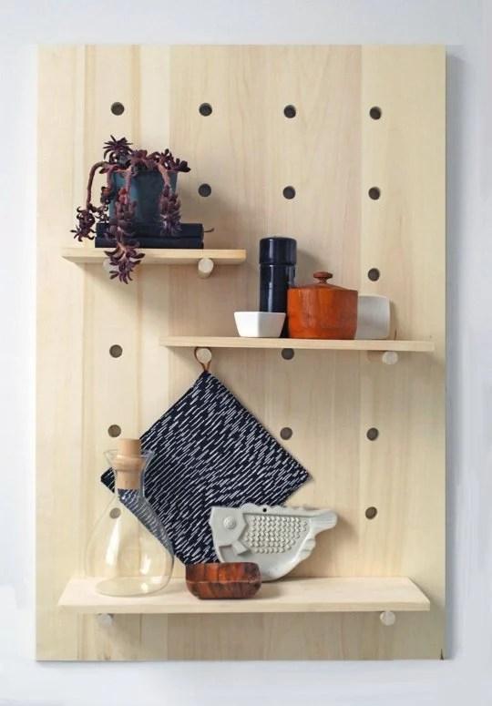 diy modern pegboard shelf wall (Apartment Therapy)