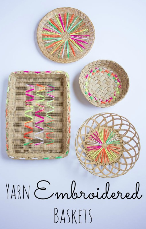 embroidered baskets diy art (Design Improvised)