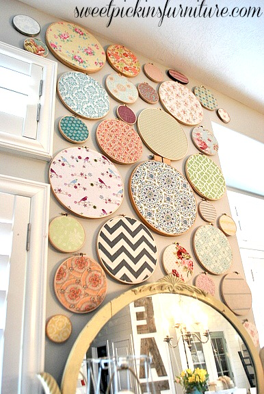 embroidery hoop fabric wall art (Sweet Pickins Furniture)